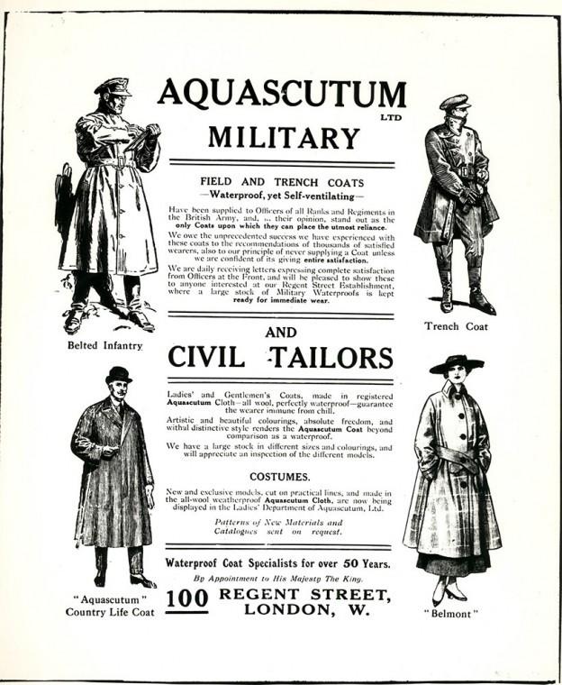 Uma propaganda antiga dos trenchcoats.