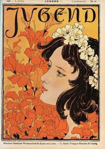 Capa da revista alemã Jugend nº 14 por Otto Eckmann, 1896.