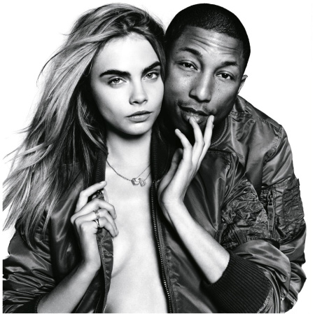Cara Delevingne with Pharrell Williams Vogue September 2013 Photo David Bailey