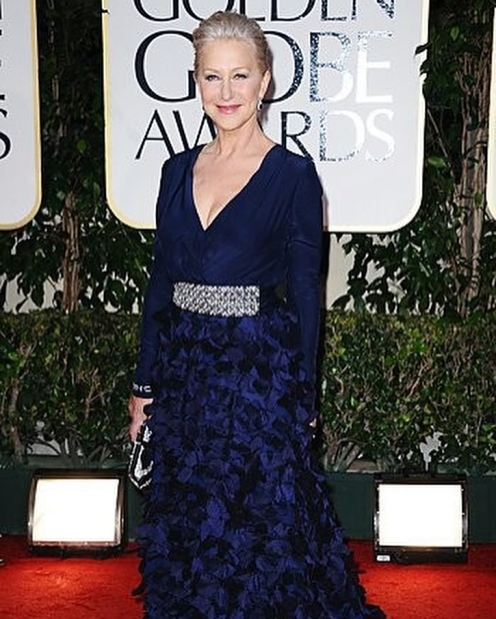 Helen Mirren no Golden Globes de 2013.