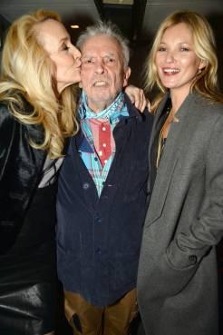Jerry Hall, Kate Moss e David Bailey em 3 de Fevereiro de 2014.
